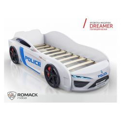 Кровать-машина «Dreamer 2018 - Полиция», матрас на выбор, 2 цвета