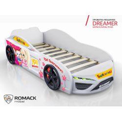 Кровать-машина «Dreamer Барбоскины Роза», матрас на выбор, 2 цвета