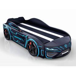 Кровать-машина «Berton» (полиция, неон) с подсветкой дна и фар, капотом, матрас на выбор, 3 цвета
