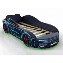 Кровать-машина «Berton» (полиция, неон), матрас на выбор, 3 цвета
