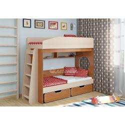 Двухъярусная кровать «Легенда 10» (с прямой лестницей и двумя ящиками)