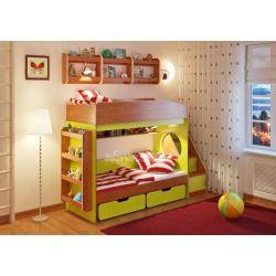 Двухъярусная кровать «Легенда 10» (с угловой лестницей, ящиками и четырьмя полками)