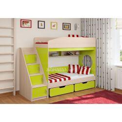 Двухъярусная кровать «Легенда 10» (с угловой лестницей и двумя ящиками)