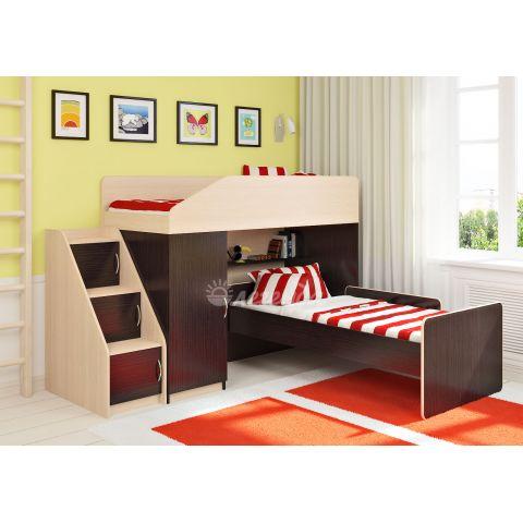 Размер - 227,5х202,2х145 см (ШxГxВ), спальное место - 180x80 см. Материал - ЛДСП, 16 мм (класс эмиссии - Е1)