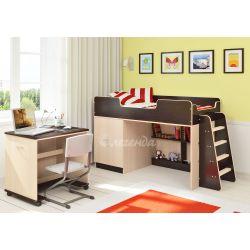 Кровать-чердак «Легенда 2» (с прямой лестницей и столом)