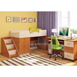 Кровать-чердак «Легенда 2» (с угловой лестницей и столом с тумбой)