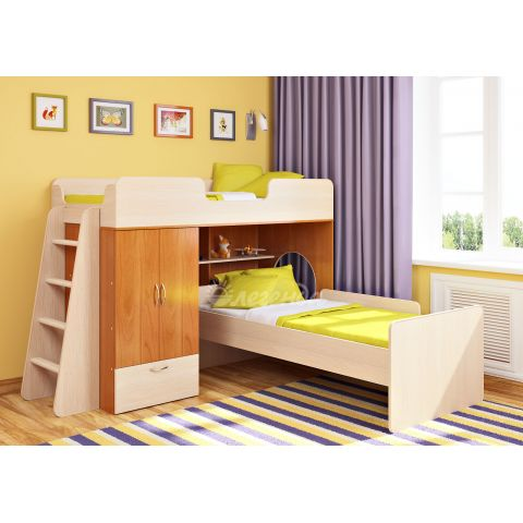 Размер - 212,8х198,5х139,5 см (ШxГxВ), спальное место - 180x80 см. Материал - ЛДСП, 16 мм (класс эмиссии - Е1)