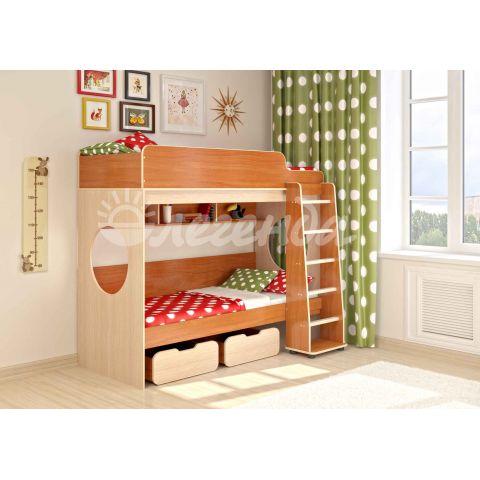 Размер - 195,2x114,6x167,5 см (ШxГxВ), спальное место - 190x80 см, допустимая нагрузка на спальное место - 70 кг. Материал - ЛДСП, 16 мм (класс эмиссии - Е1)