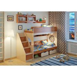 Двухъярусная кровать «Легенда 7» (с угловой лестницей и полками)