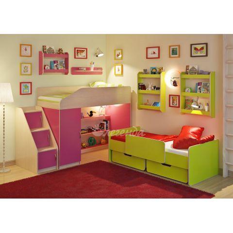 Размер - 224,4×83,4×166,0 см (ШxГxВ), спальное место - 180x80 см, допустимая нагрузка на спальное место - 70 кг. Материал - ЛДСП, 16 мм (класс эмиссии - Е1)