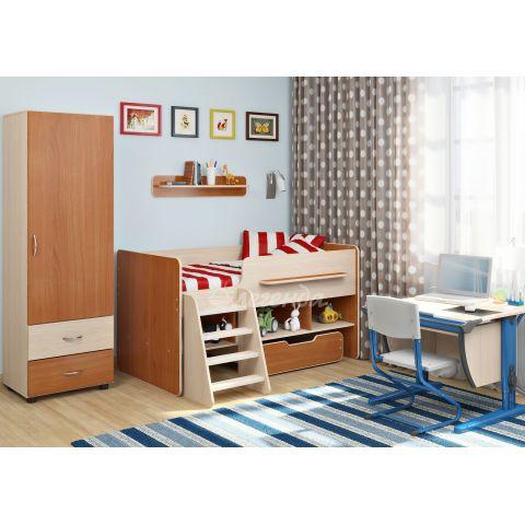 Размер - 225,0x123,0x185,2 см (ШxГxВ), спальное место - 160x80 см, допустимая нагрузка на спальное место - 70 кг. Материал - ЛДСП, 16 мм (класс эмиссии - Е1)