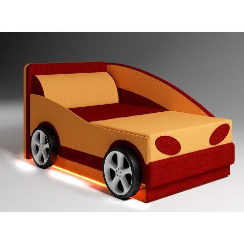 Размер - 130x85x75 см (ШxГxВ), спальное место - 190x75 см (в сложенном виде - 112x79 см). Материал - массив дерева + фанера, ЛДСП 16 мм (Эггер, Австрия), ткань астра велюр или кабрио. Наполнитель - ППУ, 6 см. Металлические крепления. Колеса: АБС-пластик