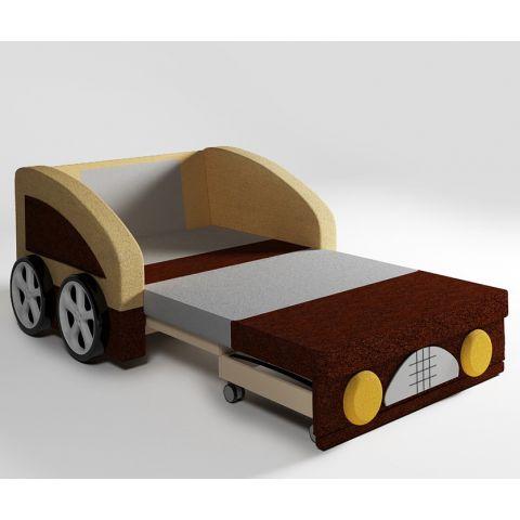 Размер - 112x84x88 см (ШxГxВ), спальное место: 188x88,5 см см. Материал - массив дерева + фанера, ЛДСП 16 мм (Эггер, Австрия), ткань астра велюр или кабрио. Наполнитель - ППУ, 6 см. Металлические крепления. АБС-пластик