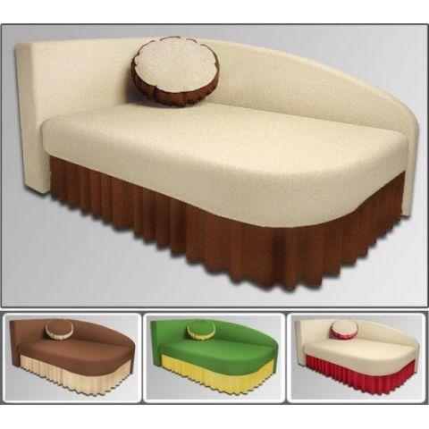 Размер - 185x84x76 см (ШxГxВ), спальное место: 185x84 см см (в сложенном виде длина дивана 140 см). Материал - массив дерева + фанера, ЛДСП 16 мм (Эггер, Австрия), ткань астра велюр или кабрио. Наполнитель - ППУ, 6 см. Металлические крепления