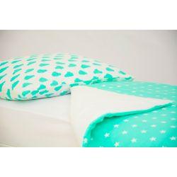 Детское постельное белье «Облака мятные - звезды, фон мятный» (бязь)
