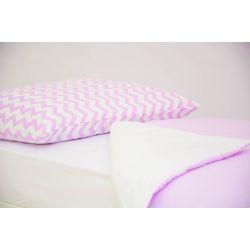 Детское постельное белье «Зигзаги лаванда - полоски лаванда» (бязь)