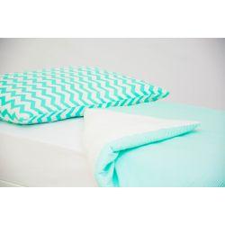 Детское постельное белье «Зигзаги мятные - полоски мятные» (бязь)