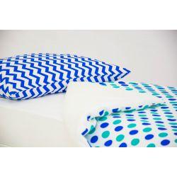 Детское постельное белье «Зигзаги синие - круги мятный, синий» (бязь)