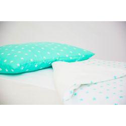 Детское постельное белье «Звезды, фон мятный - звезды мятные» (бязь)
