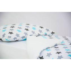 Детское постельное белье «Звезды графит, бирюза, серый» (бязь)