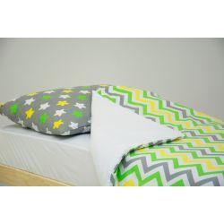 Детское постельное белье «Звёзды жёлтый, зелёный, белый, фон графит - зигзаги жёлтый, зелёный, графит» (бязь)