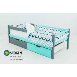 Деревянная кровать-тахта «Skogen графит-мятный»