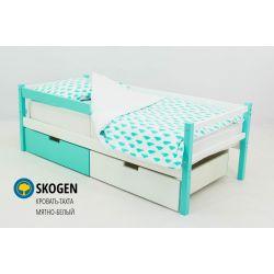 Деревянная кровать-тахта «Skogen белый-мятный»