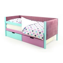 Мягкая кровать-тахта «Skogen мятный-лаванда»