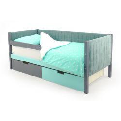 Мягкая кровать-тахта «Skogen графит-мятный»