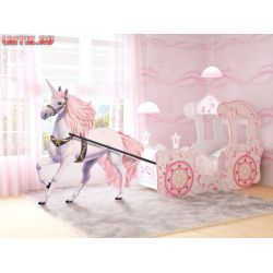 Кровать «Карета» розовая
