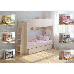 Трехъярусная кровать «Легенда-10» (с выдвижным спальным местом и прямой лестницей)