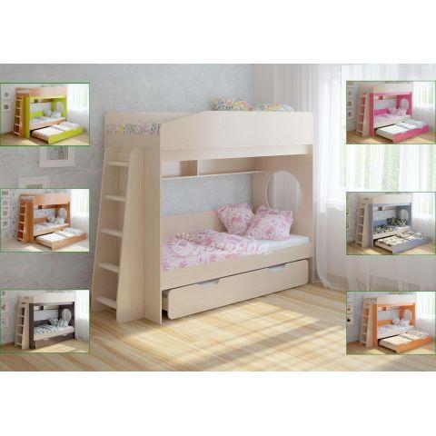 Трехъярусная кровать «Легенда 10» (с выдвижным спальным местом и прямой лестницей)
