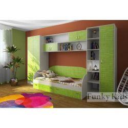 Детская кровать со шкафами «Фанки Кидз 17» (составьте композицию)