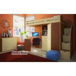 Кровать-чердак «Фанки Кидз 1 Гранд ФМ»  (с лестницей в виде тумбы)