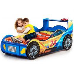 Кровать-машина «Гонщик» синяя