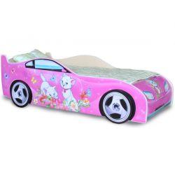 Кровать-машина «Китти» Розовая