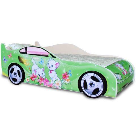 Кровать-машина «Китти» Зеленая