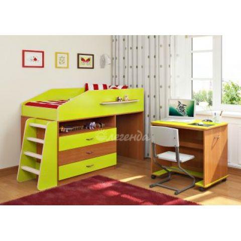 Кровать-чердак «Легенда-12» (с прямой  лестницей и столом)
