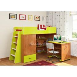 Кровать-чердак «Легенда 3» («Сказка-3») (с прямой лестницей и столом)