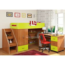 Кровать-чердак «Легенда 3» («Сказка-3») (с угловой лестницей и столом)