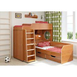 Кровать-чердак «Легенда 5» («Сказка-5») (с прямой лестницей и нижней кроватью с ящиками)
