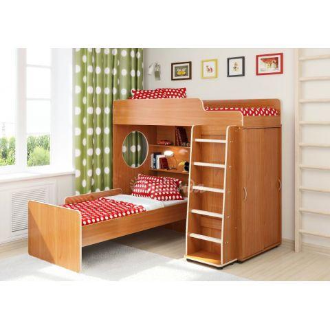 Кровать-чердак «Легенда 5» («Сказка-5») (с прямой лестницей и нижней кроватью)