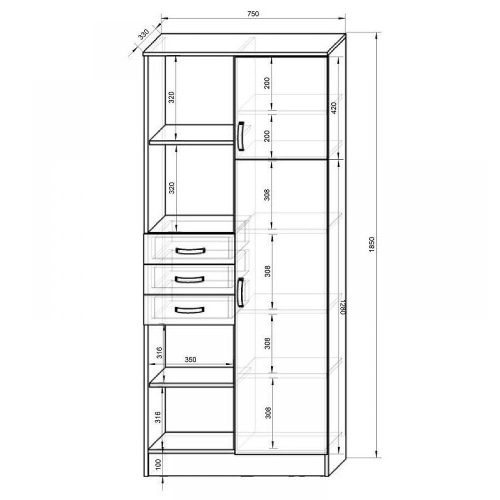 Кровать двухъярусная фанки кидз 5 + шкаф 13/2 св + стеллаж 1.