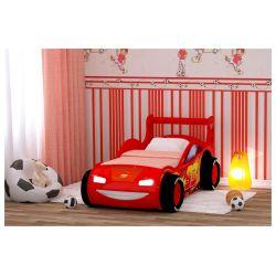 Кровать-машина «Молния 3D» красная