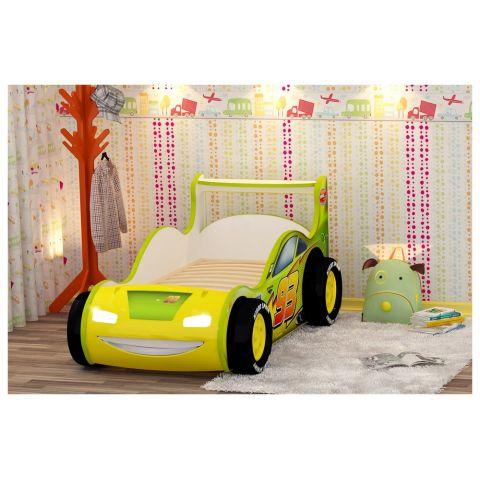 Кровать-машина «Молния 3D» желтая