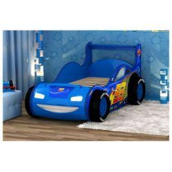 Кровать-машина «Молния 3D» синяя