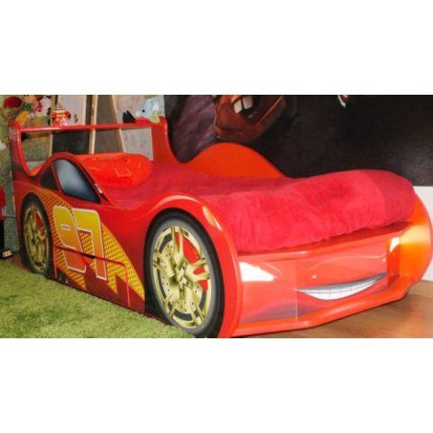 Кровать-машина «Молния с ящиком» красная