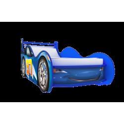 Кровать-машина «Молния с ящиком» синяя