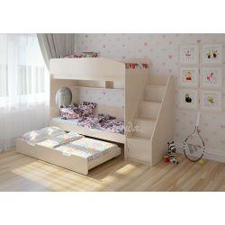 Трехъярусная кровать «Легенда 10» (с выдвижным спальным местом и угловой лестницей)