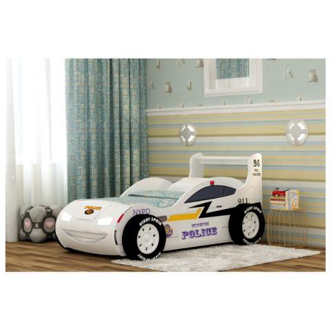 Кровать-машина «Полиция 3D» белая